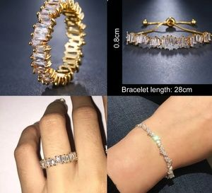 Jewelry - Ices Out Yellow Gold CZ Ring and Bracelet Set